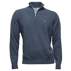 Fynch Hatton Wool & Cashmere Zip Neck - Ice Blue