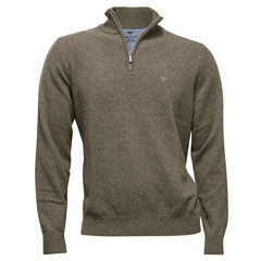 Fynch Hatton Wool & Cashmere Zip Neck - Dune