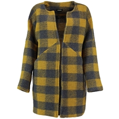 Autumn 2018 Pomodoro Check Collarless Coat - Saffron