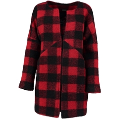 Autumn 2018 Pomodoro Check Collarless Coat - Red