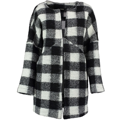 Autumn 2018 Pomodoro Check Collarless Coat - Winter White