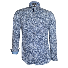 Fynch Hatton Shirt - Navy Leaves