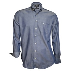 Autumn 2018 Fynch Hatton Shirt - Navy Herringbone - Size 3XL Only