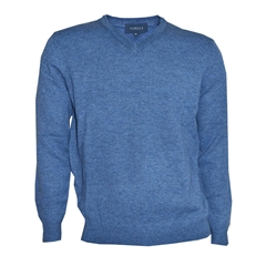 Viyella V Neck Lambswool Jumper - Mid Blue