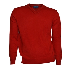 Viyella V Neck Lambswool Jumper - Red