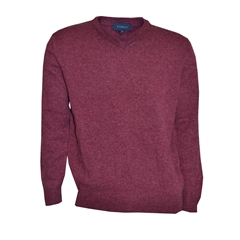 Viyella V Neck Lambswool Jumper - Berry