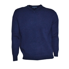 Viyella V Neck Lambswool Jumper - Navy