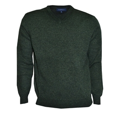 Viyella V Neck Lambswool Jumper - Green