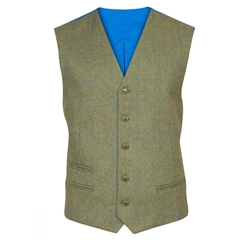 Alan Paine Country Collection - Combrook Tweed Waistcoat - Lagoon