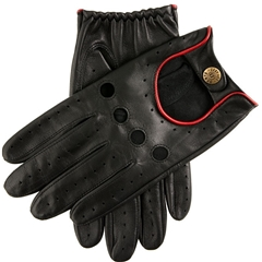 Dents Men's Leather Driving Gloves - Delta - Black and Berry