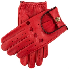 Dents Men's Leather Driving Gloves - Delta - Berry and Black