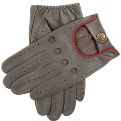 Dents Men's Leather Driving Gloves - Delta - Charcoal and Berry