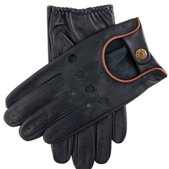 Dents Men's Leather Driving Gloves - Delta - Navy and Tan