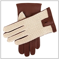 Dents Men's Cotton Crochet back Driving Gloves - English Tan