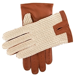 Dents Men's Cotton Crochet back Driving Gloves - Cognac