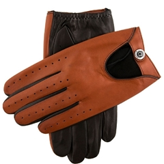 Dents Men's Two Colour Leather Driving Gloves - Black and High Tan