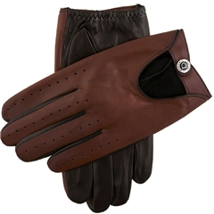 Dents Men's Two Colour Leather Driving Gloves - Black and English Tan