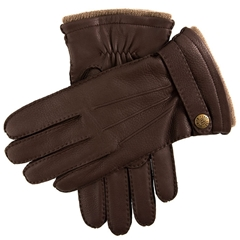Dents Men's Cashmere Lined Deerskin Leather Gloves - Bark