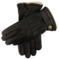 Dents Men's Cashmere Lined Deerskin Leather Gloves - Black