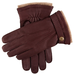 Dents Men's Cashmere Lined Deerskin Leather Gloves - Claret
