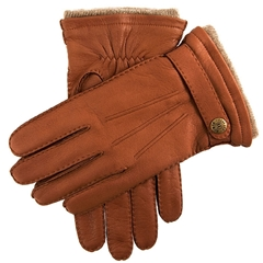 Dents Men's Cashmere Lined Deerskin Leather Gloves - Havana