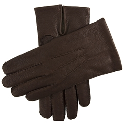 Dents Men's Cashmere Lined Deerskin Gloves - Bark