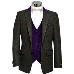 Green Tweed Check Jacket with Velvet Collar - Waistcoat Option Available