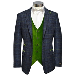 Slate-Blue Shetland Check Jacket with Green Trim - Waistcoat Option Available