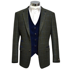 "Green Herringbone Tweed Check Jacket with Navy Trim - Waistcoat Option Available - Size 42""S Only"
