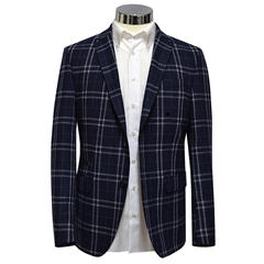 Blue Over Check Jacket
