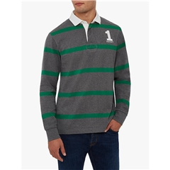 Autumn 2018 Hackett of London Inch Rugby Shirt - Green/Grey Stripe