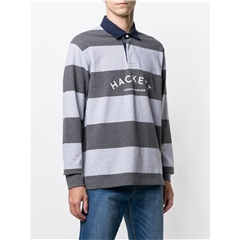 Hackett of London 'Mr Classic' Rugby Shirt - Grey/Anthracite Stripe