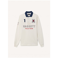 Hackett of London Snow Quilt Rugby Shirt - Chalk White - Medium Only
