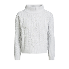 Oui Cable Knit Jumper - Light Grey