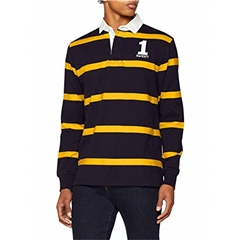 Hackett of London Inch Rugby Shirt - Navy/Gold Stripe