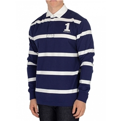 Hackett of London Inch Rugby Shirt - Blue/White Stripe