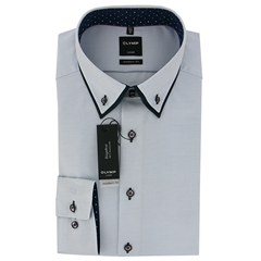 Olymp Modern Fit Shirt  - Light Blue Micro-Design with Contrast Trim