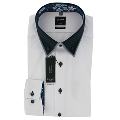 Olymp Modern Fit Shirt  - White with Navy/Floral Contrast Trim