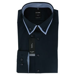 Olymp Modern Fit Shirt  - Navy with Sky Blue Contrast Trim