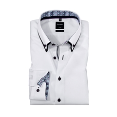 Olymp Modern Fit Shirt - White with Polka Dot Contrast Trim