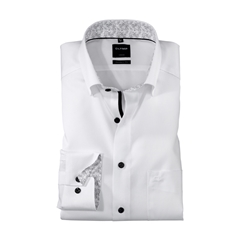 Olymp Modern Fit Shirt - White with Grey Patterned Contrast Trim