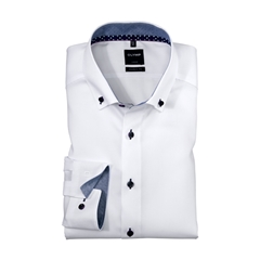Olymp Modern Fit Shirt - White with Multi-Patterned Contrast Trim