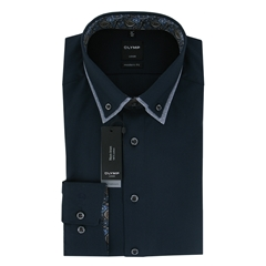 Olymp Modern Fit Shirt - Navy with Patterned Contrast Trim