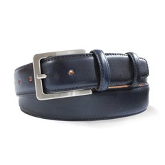 Mens Navy Leather Belt by Robert Charles
