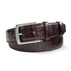 Brown Leather  Crocodile Skin Belt by Robert Charles