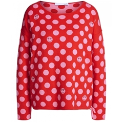 Oui Smiley Reversible Jumper - Red/Pink