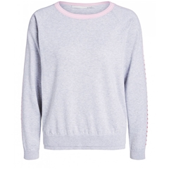 Oui Jumper with Heart Contrast Strip - Grey