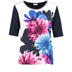 Gerry Weber Floral Front Top - Navy Blue