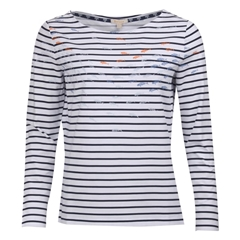 New 2019 Barbour Women's Top - Seaward - White