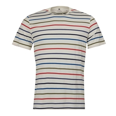 New 2019 Barbour International Men's Steve McQueen Striped T-Shirt - Radial - Whisper White